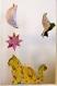 Cadre bebe enfant bébé en papier découpé décoration animaux chat oiseau étoile lune 3d
