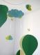 Mobile bébé origami papier suspension en spirale chambre bébé montgolfière oiseau nuage vert jaune babyshower