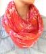 Foulard infini femme, écharpe rouge blanc, foulard floral, snood tour de cou, écharpe fleurs, foulard rouge blanc, foulard boucle rouge