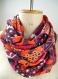 Snood femme chiffon rose orange, écharpe infinie souple colorée, cadeau maman femme amie noël, foulard chiffon floral