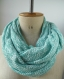 Écharpe femme tricot, écharpe verte, tour du cou vert mêlé, snood femme tissu tricoté, foulard boucle vert, écharpe hiver, foulard hiver