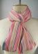 Snood coton rose or, écharpe infinie coton, foulard coton rose, écharpe rayée rose, foulard infini coton, foulard rose or, cadeau maman