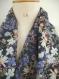 écharpe florale chiffon femme, snood tissu aux fleurs, écharpe infinie florale, snood chiffon femme, tour de cou floral tissu, écharpe col