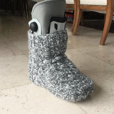 Grande chaussette pour plâtre, laine mohair  sock large for plaster.