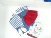 Vêtement de poupée (33cm):  marinière, jupe rouge, sac cabas