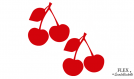 2 cerises rouge flex applique thermocollant