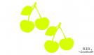 2 cerises jaune fluo flex applique thermocollant