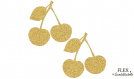 2 cerises dore paillete flex applique thermocollant