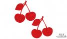 2 cerises rouge paillete flex applique thermocollant