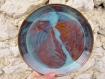 Sur commande - assiette en grès marron et bleu, assiette poterie, assiette ceramique