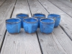 Sur commande - ensemble de 4 tasses à café en grès marron et bleu