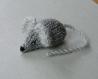 Mimi petite souris en laine grise & gris perle tricotée main