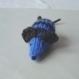 Mimi petite souris en laine bleue rayée noire tricotée main