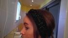 Headband, bandeau pour femme en laine noire avec torsade centrale et fil lurex