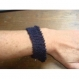 Bracelet en laine marine 18 cm avec fermoir t toggle argent tibetain