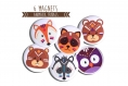 6 magnets animaux tribals 56 mm renard loup ours raton laveur écureuil hibou chouette graphique coloré orange marron