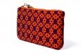Étui à lunettes ethnique tissu graphique violet orange arabesque zip trousse pochette pompon sac cadeau femme fait main molletonné doublé