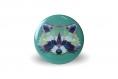 4 magnets animaux 56 mm renard loup ours raton laveur graphique coloré orange vert bleu