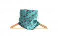 Snood écharpe col polaire marron et tissu turquoise coton imprimé réversible graphique bleu ronds et cercles pop