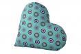 Coussin coeur saint valentin 38 cm tissu fait main bi-matière coton polaire graphique bleu turquoise deux côtés bleu pétrole cercles ronds