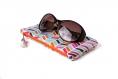 Étui lunettes en tissu aux motifs graphique de chevrons multicolores rigidifié molletonné doublé zippé turquoise mint orange fuchsia