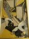 Tableau de décoration en patchwork de tissus - bijoux et boutons sous verre modèle ficus