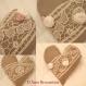 Gros coussin coeur en  lin de style shabby chic avec broderies anciennes et fleurs en lin rose et ecru  modele unique