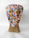 Sculpture visage d'homme terre cuite et mosaïque. bronze et multicolore.