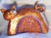 Sculpture chat en mosaïque, doré.