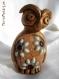 Sculpture chouette terre cuite et mosaïque, marron, décoration.