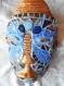Masque africain sculpture mosaïque, bleu et or.