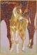 Tableau en mosaïque, jument et son poulain, mosaïques romaines, marron, rose, décoration.