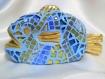 Poisson en mosaïque bleu et or.