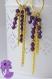 Rococo - paire de boucles d'oreille dorée, ovale avec franges de chaînes et perles toupies