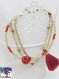 Folk - bracelet 3 rangs doré rouge, perle tête de mort, pompon, perles de rocailles
