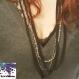 Mixtape - collier sautoir chaîne argentée, perles et bande de tissu jersey noir