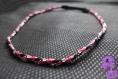 Tresse - headband élastiqué tresse rose + noir + chaîne argentée