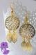 Sakari - paire de boucle d'oreille style attrape rêve et feuilles en métal doré