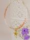 Alize - bracelet perle de rocailles corail + blanc + doré et perle étoile dorée