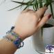 Blue - bracelet triple rang, perles camaieu de bleu et pompons