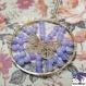 Poetic- collier sautoir pendentif rond perles agathe bleue et estampe papillon