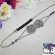 Scylla - headband bijou argenté, connecteur fleur et perle carrée noire, élastiqué