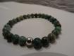 Bracelet pierre naturelle en jade blood dragon avec argent 925/1000°