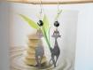Boucles d'oreilles chat acier perle noire