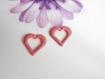 2 pendentifs coeur effet émaillé rose pailleté argent de 20 mm