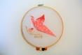Tambours oiseaux en origami,rose, beige et gris, prénom à personnaliser