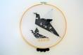 Tambours oiseaux en origami, noir et blanc, prénom à personnaliser