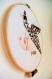 Tambours oiseaux en origami, beige, marron, noir et gris, prénom à personnaliser