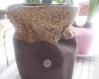 Pochon marron uni et fleuri coordonné décoré d'un bouton