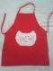 Tablier de cuisine rouge tête de chat